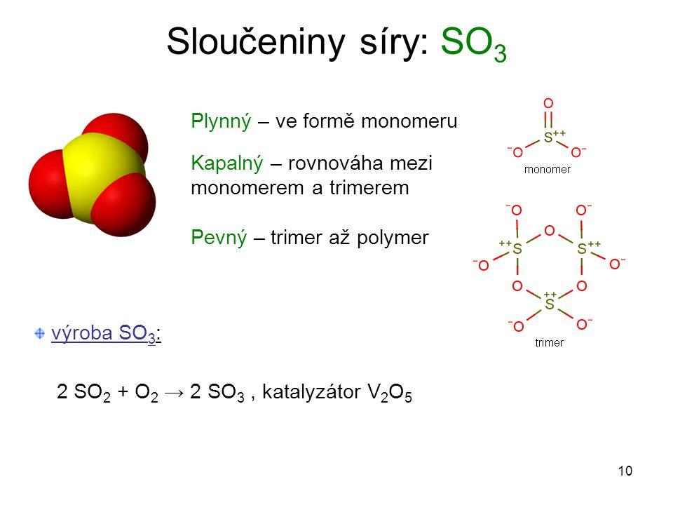 Sloučeniny síry: SO3 Plynný – ve formě monomeru