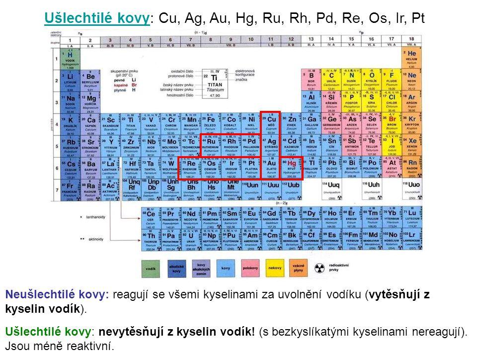 Ušlechtilé kovy: Cu, Ag, Au, Hg, Ru, Rh, Pd, Re, Os, Ir, Pt