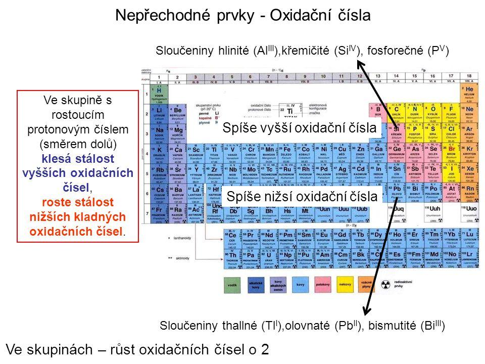 Nepřechodné prvky - Oxidační čísla