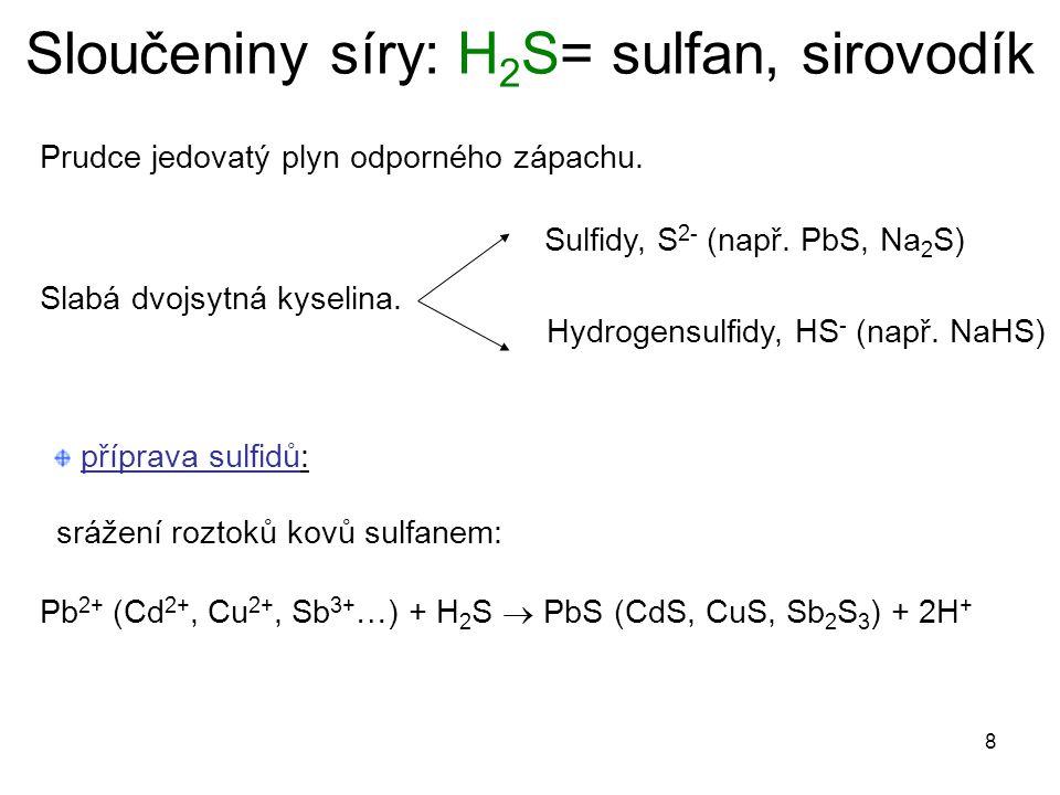 Sloučeniny síry: H2S= sulfan, sirovodík