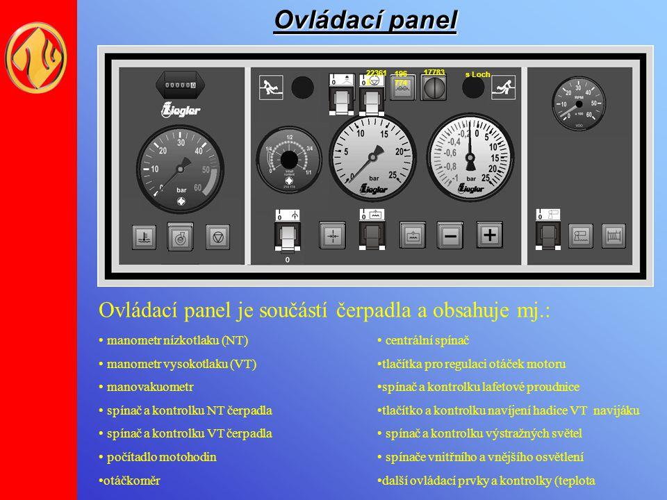 Ovládací panel Ovládací panel je součástí čerpadla a obsahuje mj.:
