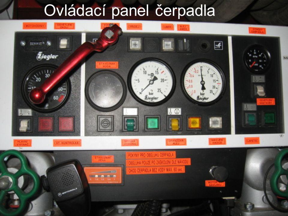 Ovládací panel čerpadla