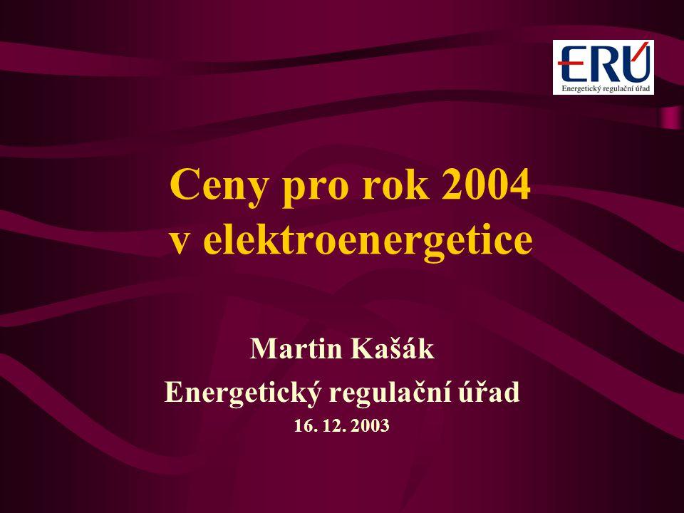 Ceny pro rok 2004 v elektroenergetice