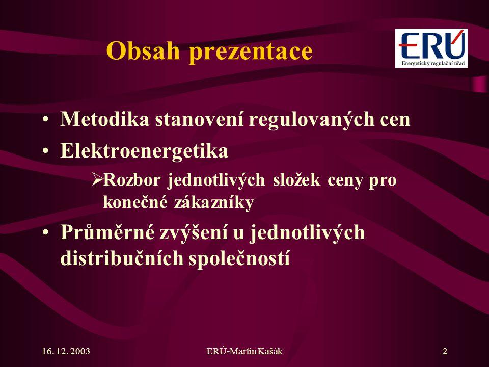 Obsah prezentace Metodika stanovení regulovaných cen Elektroenergetika