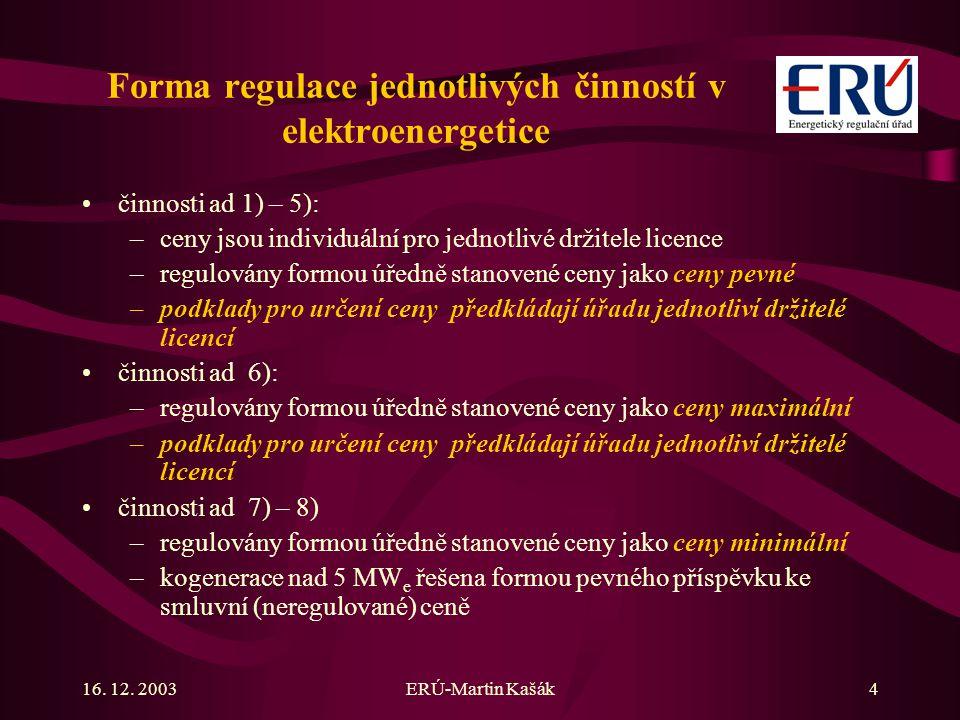 Forma regulace jednotlivých činností v elektroenergetice