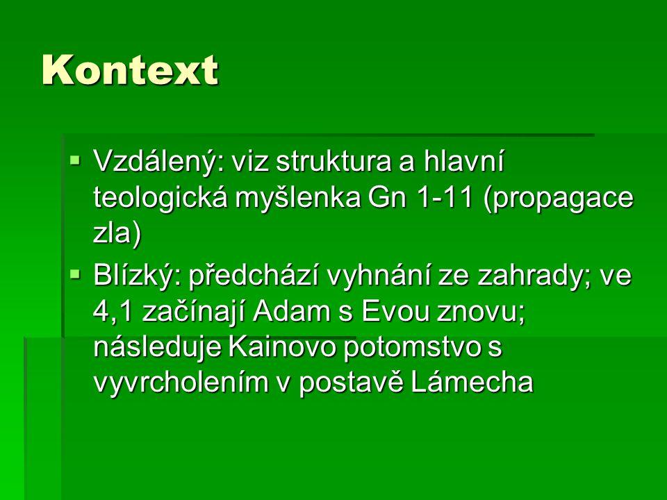 Kontext Vzdálený: viz struktura a hlavní teologická myšlenka Gn 1-11 (propagace zla)