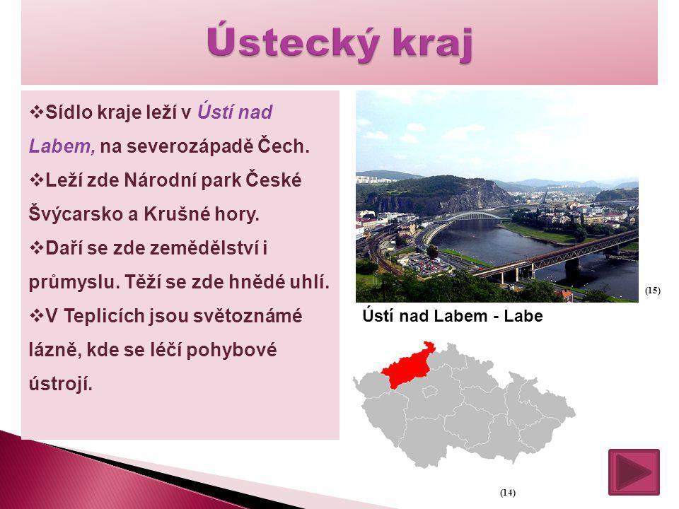 Ústecký kraj Sídlo kraje leží v Ústí nad Labem, na severozápadě Čech.