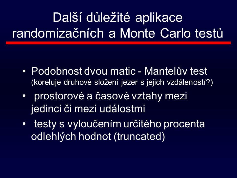 Další důležité aplikace randomizačních a Monte Carlo testů