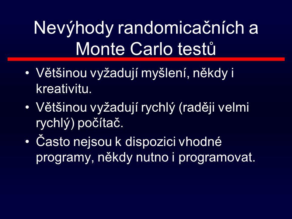 Nevýhody randomicačních a Monte Carlo testů