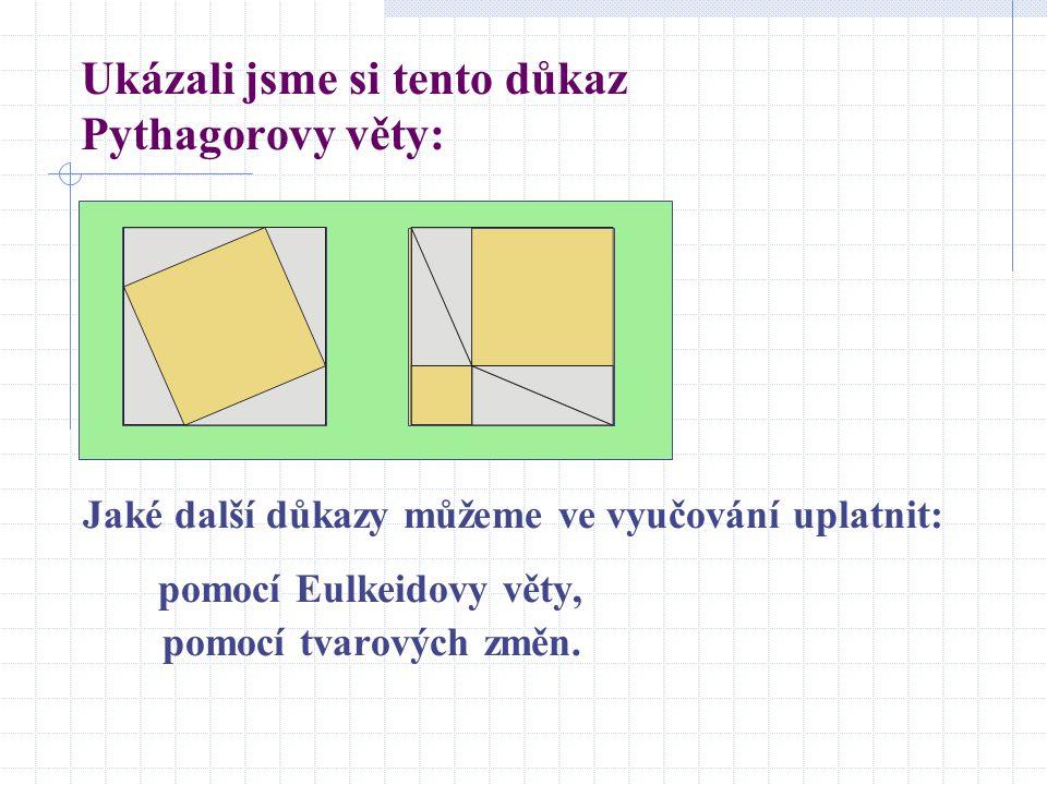 Ukázali jsme si tento důkaz Pythagorovy věty: