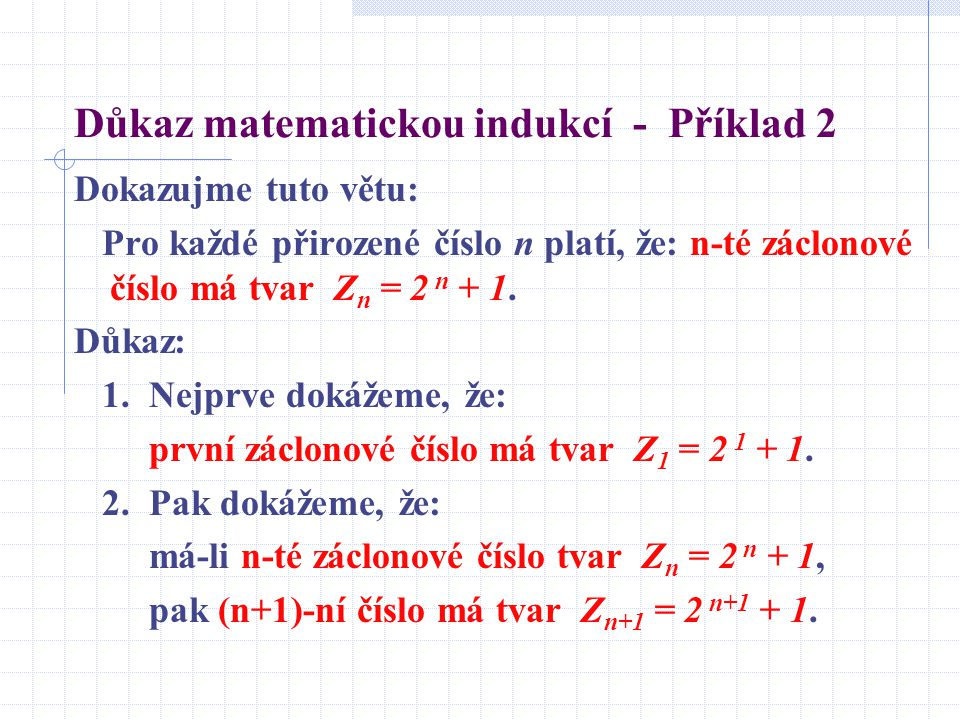 Důkaz matematickou indukcí - Příklad 2