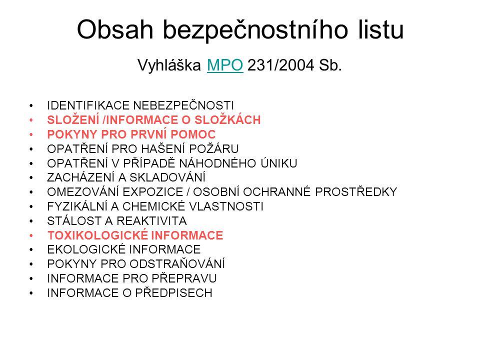 Obsah bezpečnostního listu Vyhláška MPO 231/2004 Sb.
