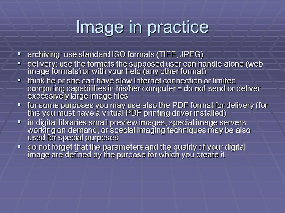 Image in practice archiving: use standard ISO formats (TIFF, JPEG)