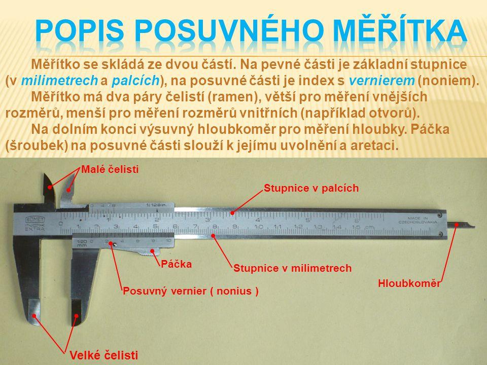 POPIS posuvného měřítka