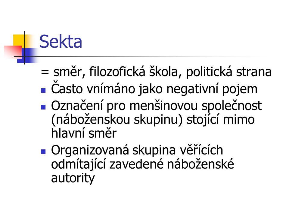 Sekta = směr, filozofická škola, politická strana