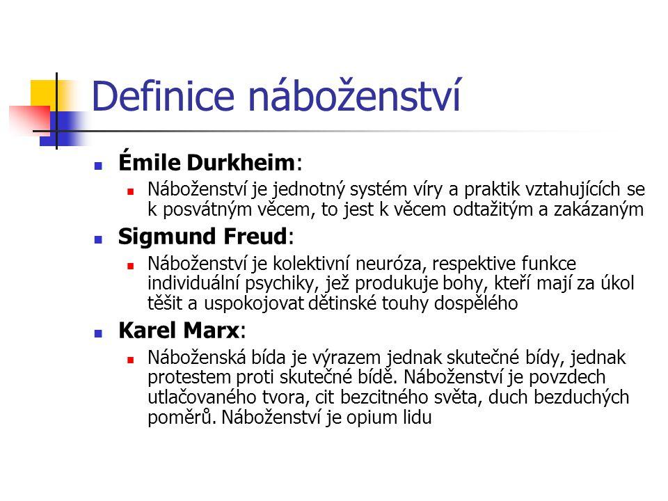 Definice náboženství Émile Durkheim: Sigmund Freud: Karel Marx: