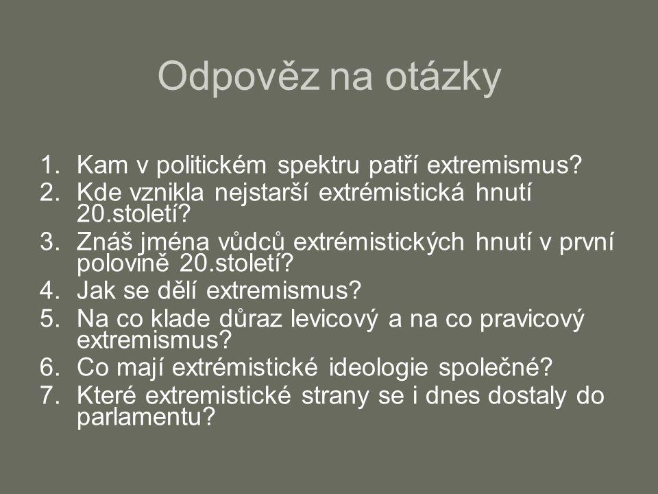 Odpověz na otázky Kam v politickém spektru patří extremismus