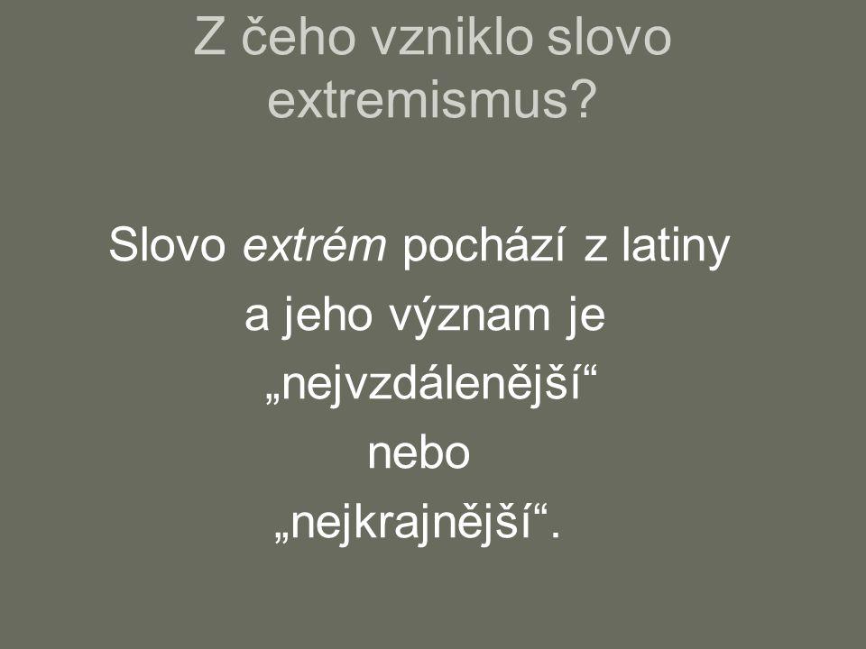 Z čeho vzniklo slovo extremismus