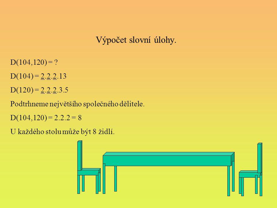 Výpočet slovní úlohy. D(104,120) = D(104) = 2.2.2.13