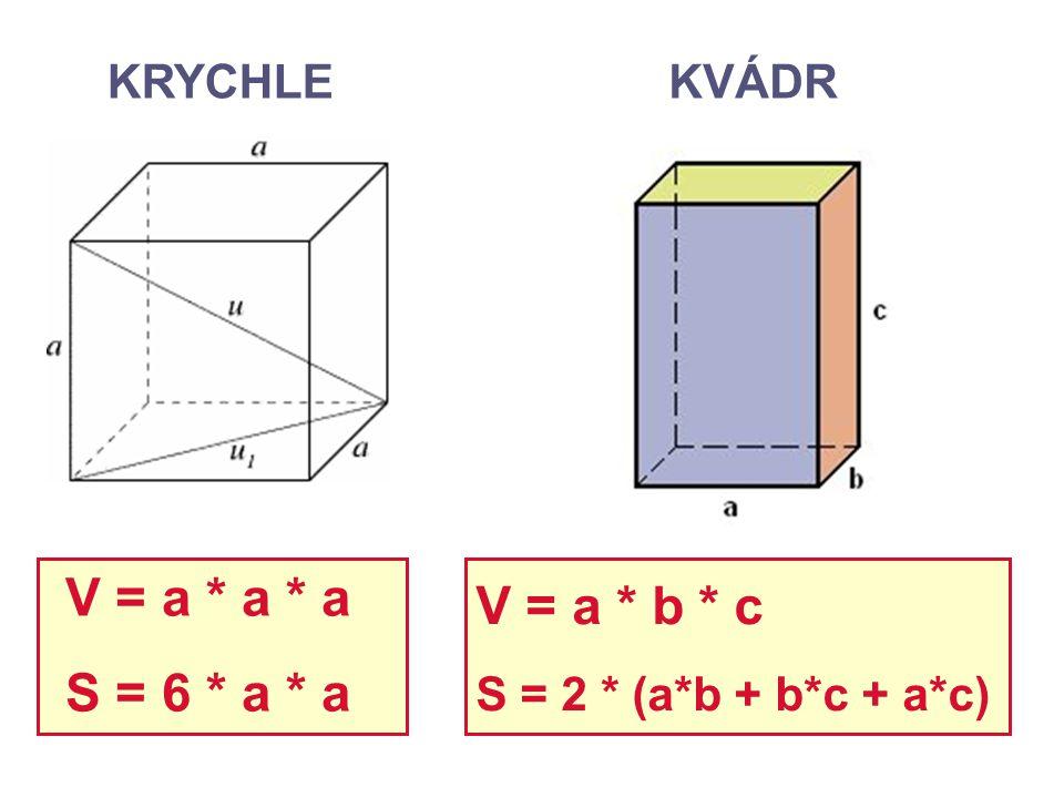 V = a * a * a V = a * b * c S = 6 * a * a KRYCHLE KVÁDR