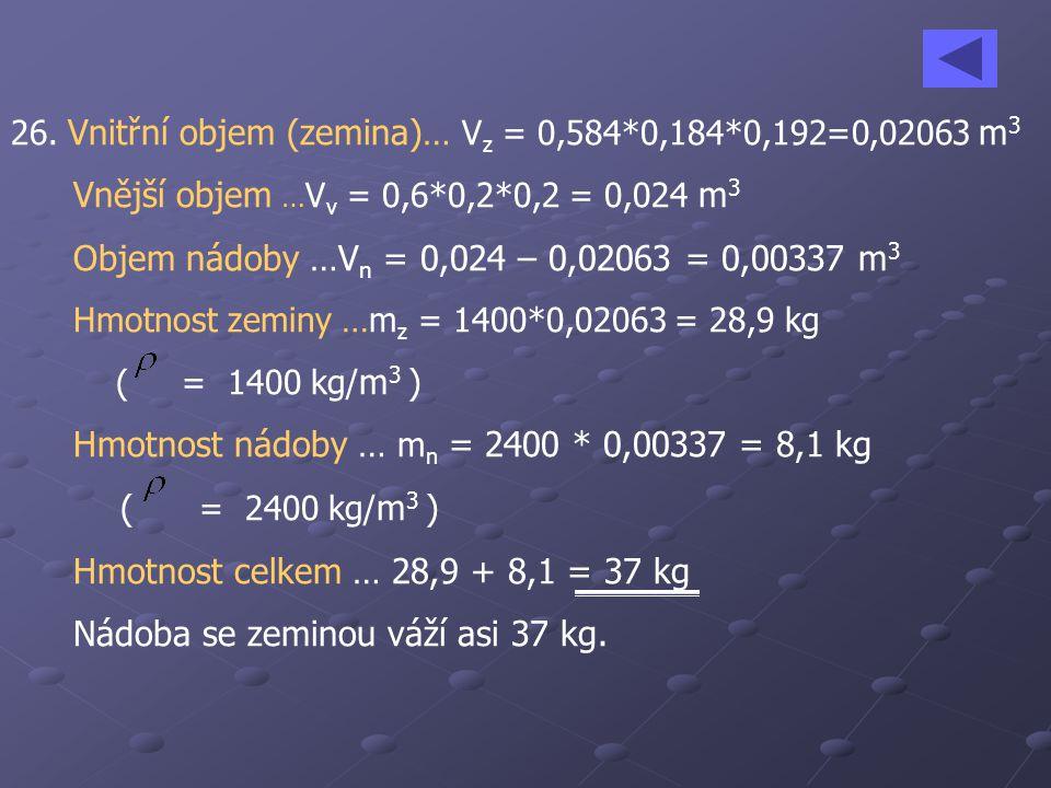 Hmotnost nádoby … mn = 2400 * 0,00337 = 8,1 kg ( = 2400 kg/m3 )