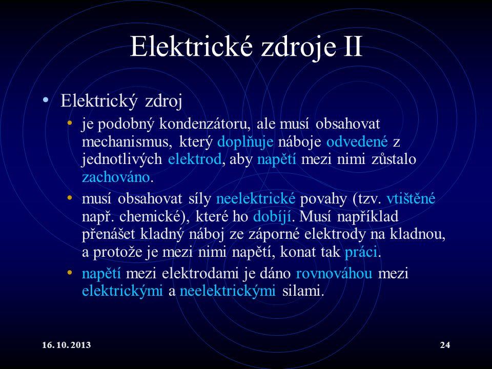 Elektrické zdroje II Elektrický zdroj