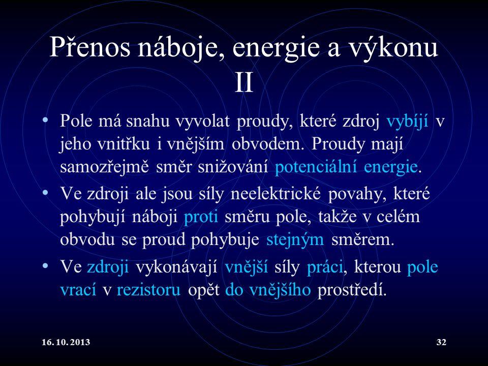 Přenos náboje, energie a výkonu II