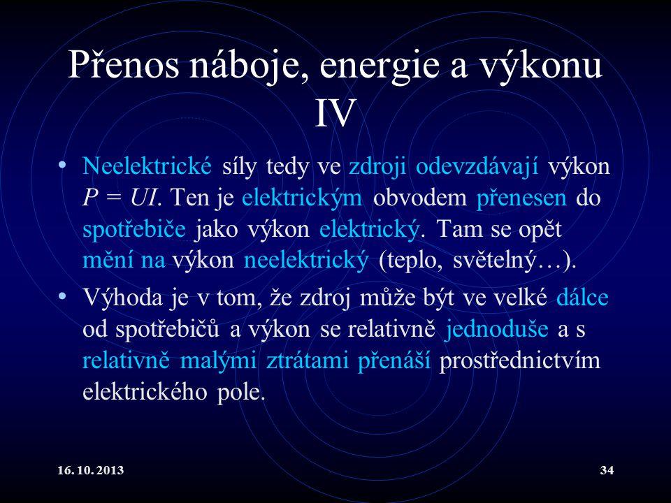 Přenos náboje, energie a výkonu IV