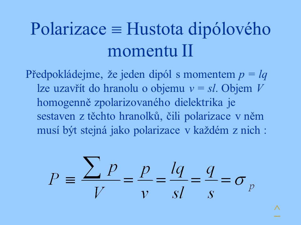Polarizace  Hustota dipólového momentu II