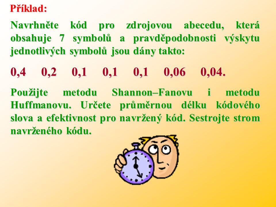 Příklad: Navrhněte kód pro zdrojovou abecedu, která obsahuje 7 symbolů a pravděpodobnosti výskytu jednotlivých symbolů jsou dány takto: