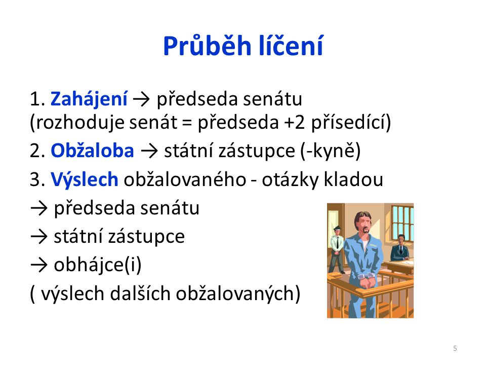 Průběh líčení 1. Zahájení → předseda senátu (rozhoduje senát = předseda +2 přísedící) 2. Obžaloba → státní zástupce (-kyně)
