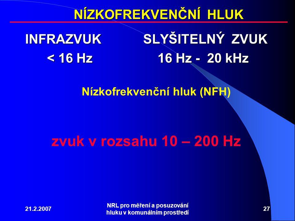 zvuk v rozsahu 10 – 200 Hz NÍZKOFREKVENČNÍ HLUK