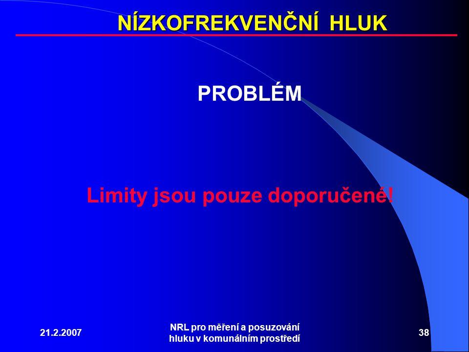 NÍZKOFREKVENČNÍ HLUK PROBLÉM Limity jsou pouze doporučené!