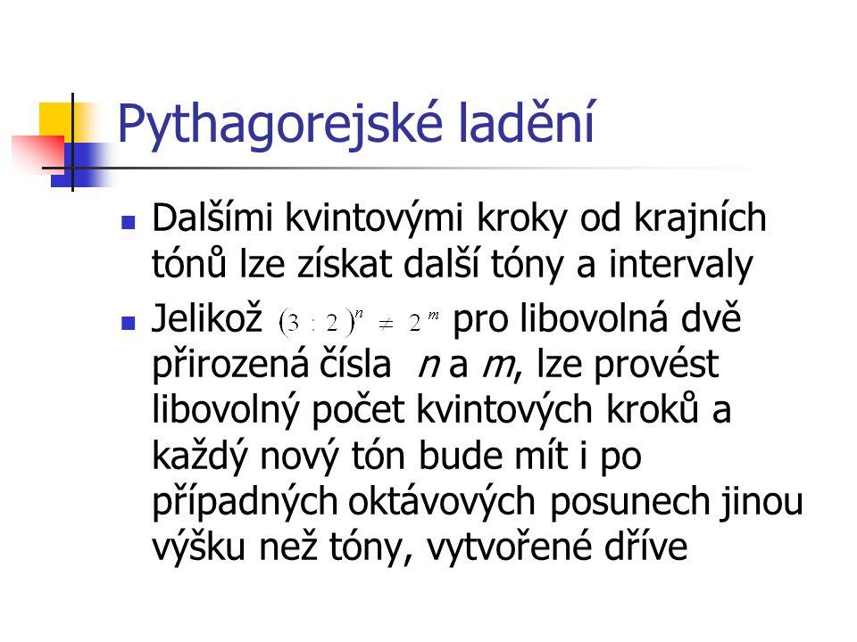 Pythagorejské ladění Dalšími kvintovými kroky od krajních tónů lze získat další tóny a intervaly.