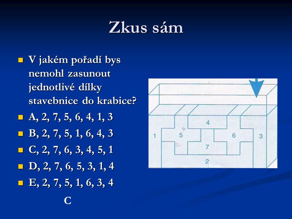 Zkus sám V jakém pořadí bys nemohl zasunout jednotlivé dílky stavebnice do krabice A, 2, 7, 5, 6, 4, 1, 3.