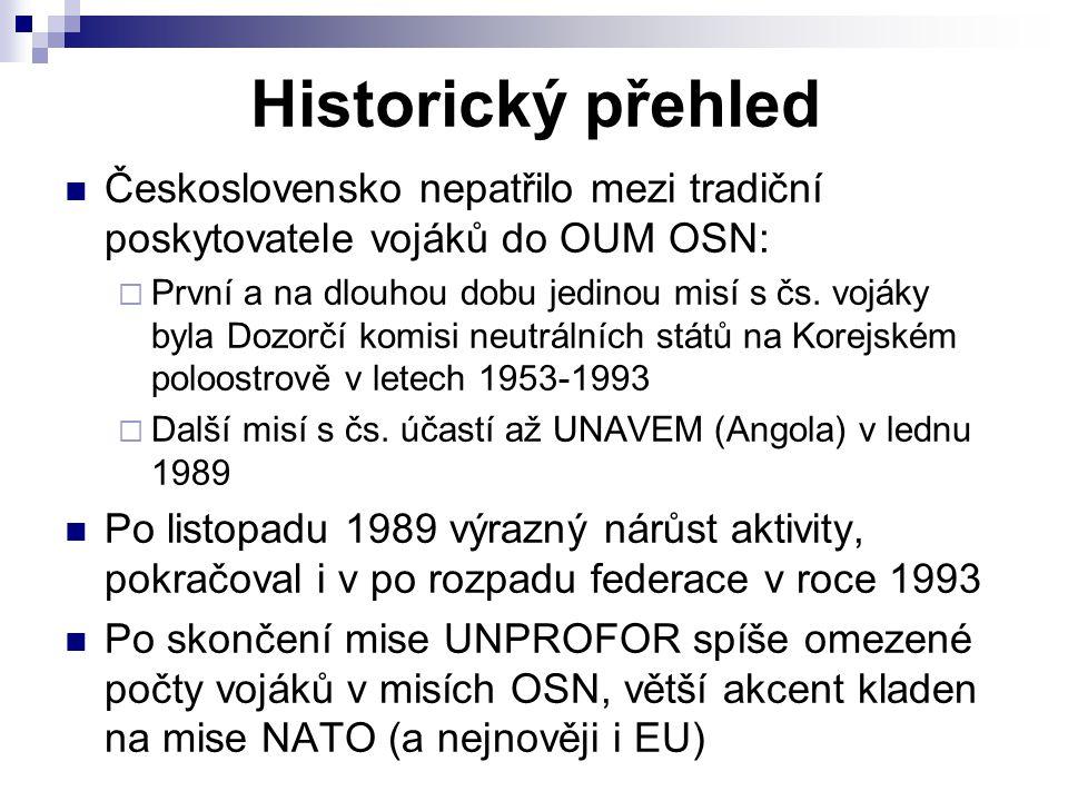 Historický přehled Československo nepatřilo mezi tradiční poskytovatele vojáků do OUM OSN: