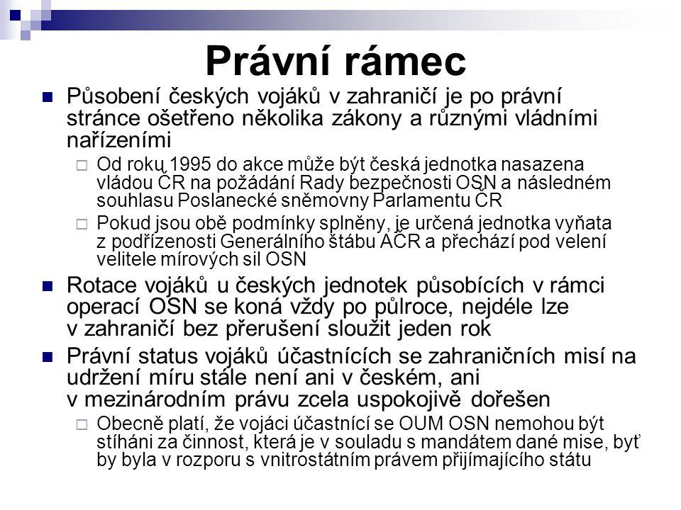 Právní rámec Působení českých vojáků v zahraničí je po právní stránce ošetřeno několika zákony a různými vládními nařízeními.
