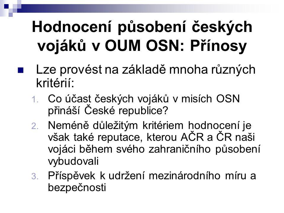 Hodnocení působení českých vojáků v OUM OSN: Přínosy