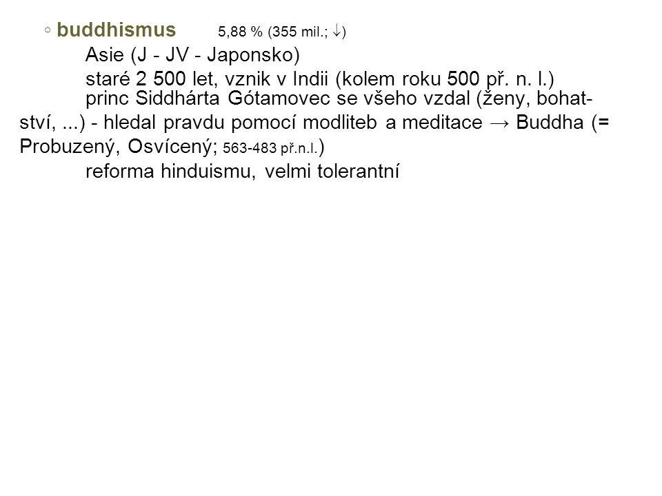 ◦ buddhismus 5,88 % (355 mil.; ) Asie (J - JV - Japonsko)