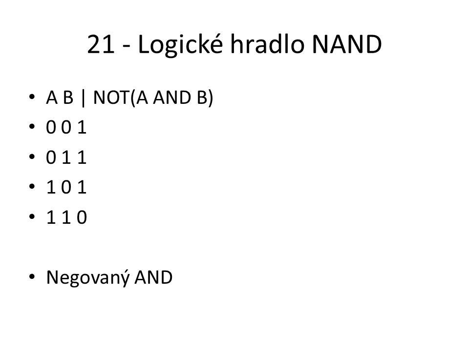 21 - Logické hradlo NAND A B | NOT(A AND B) 0 0 1 0 1 1 1 0 1 1 1 0