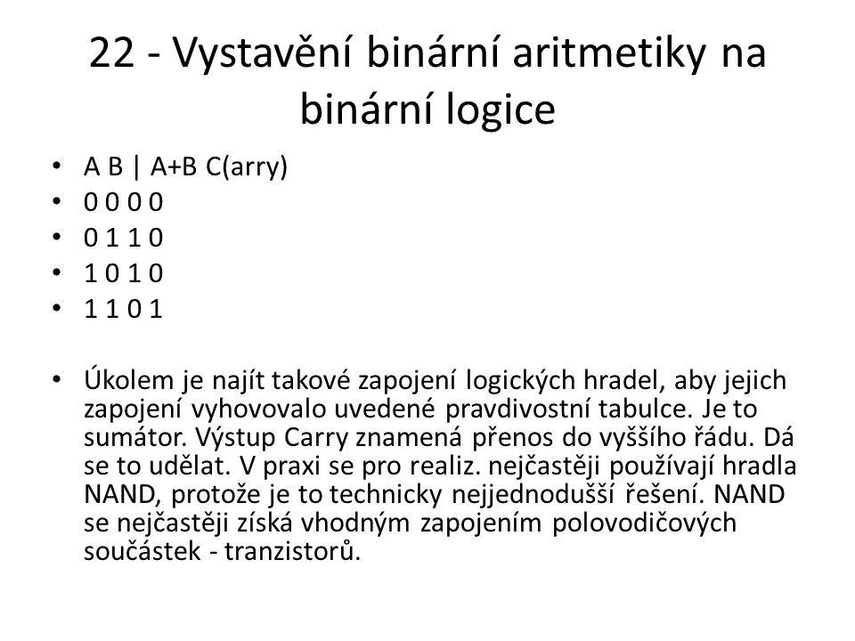 22 - Vystavění binární aritmetiky na binární logice