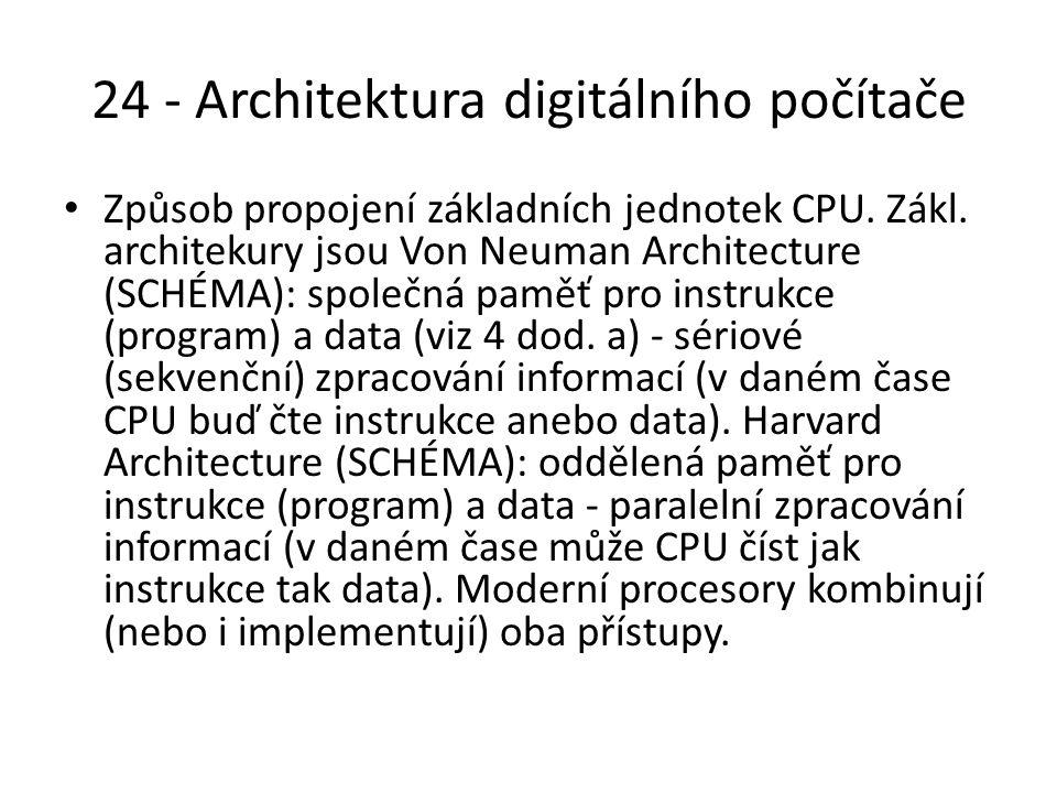 24 - Architektura digitálního počítače