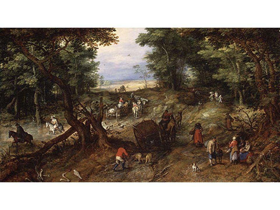 Brueghel sametový: lesní cesta s poutníky