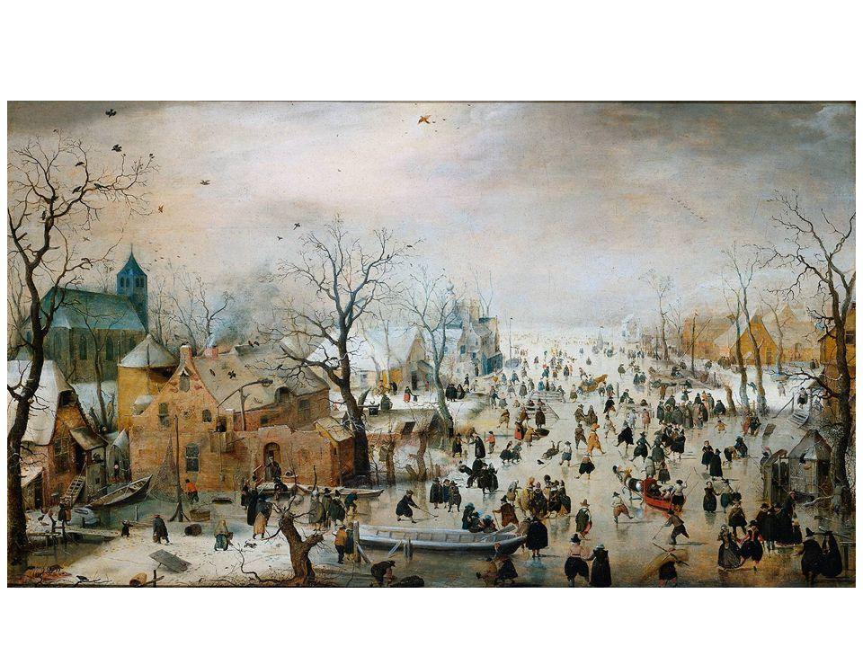 Zimní krajina s bruslaři