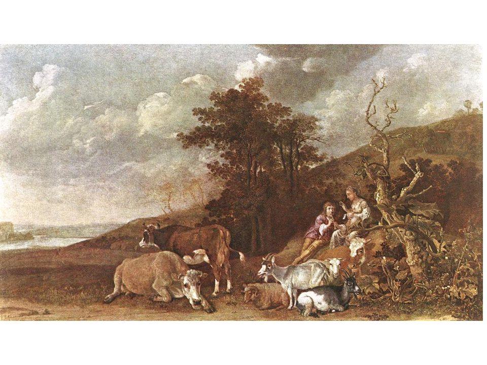 Krajina s ovčákem hrajícím na loutnu