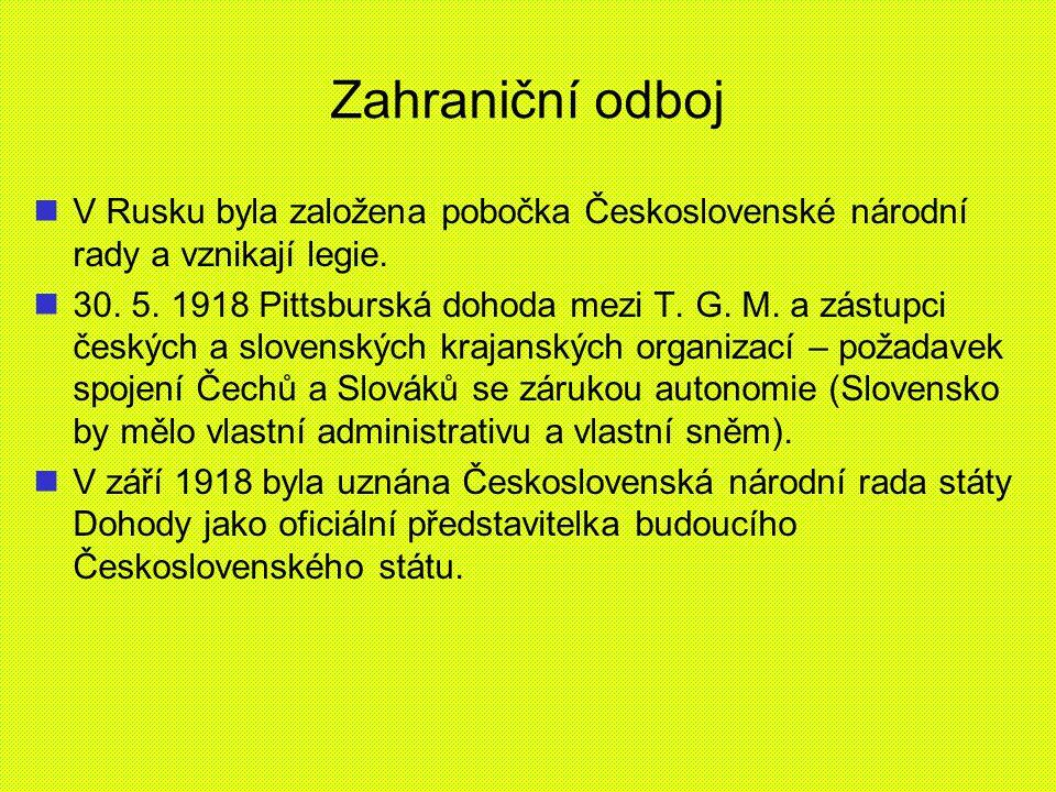 Zahraniční odboj V Rusku byla založena pobočka Československé národní rady a vznikají legie.