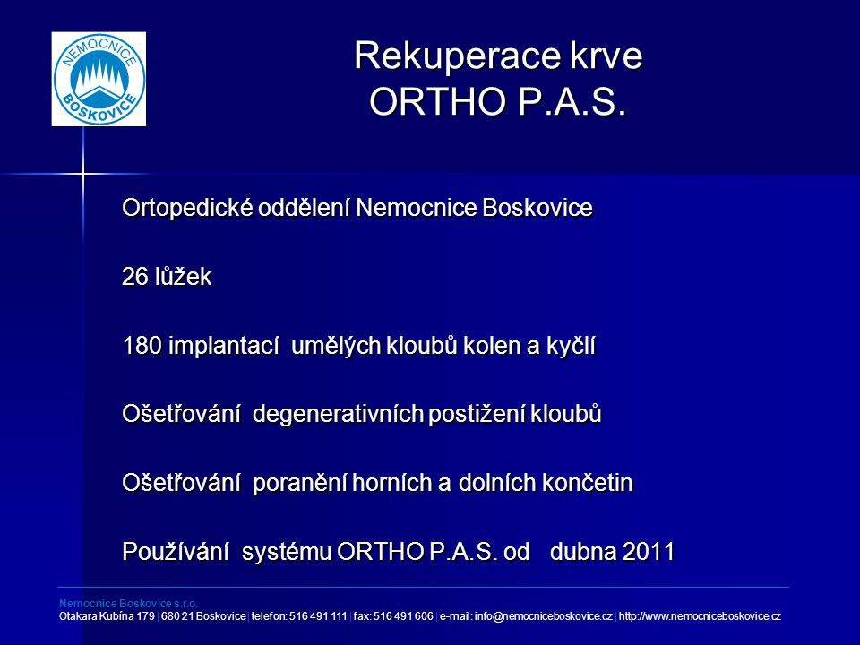 Rekuperace krve ORTHO P.A.S.