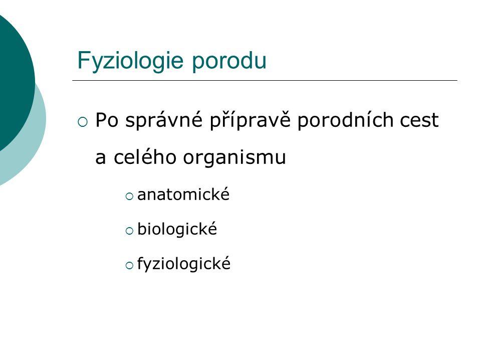 Fyziologie porodu Po správné přípravě porodních cest a celého organismu.