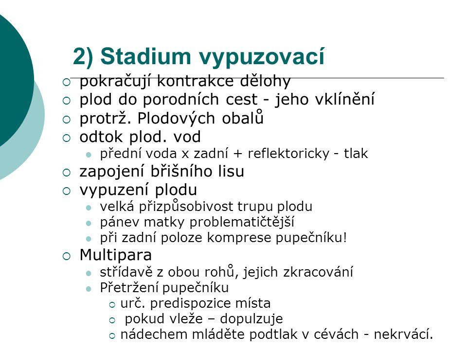 2) Stadium vypuzovací pokračují kontrakce dělohy