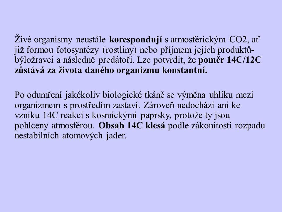 Živé organismy neustále korespondují s atmosférickým CO2, ať již formou fotosyntézy (rostliny) nebo příjmem jejich produktů-býložravci a následně predátoři. Lze potvrdit, že poměr 14C/12C zůstává za života daného organizmu konstantní.